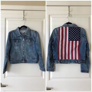 Vintage American flag crop denim jacket, size M